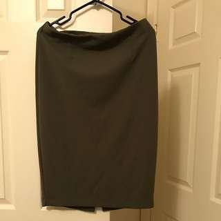 khaki green pencil skirt