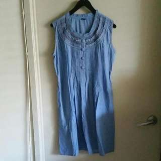 Indian Cotton & Style Embroidered Denim Blue detailed Dress