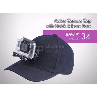 Action Camera Cap with Quick Release Base Mount GoPro Cap Hat