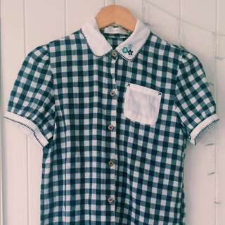 Checkered Blouse With Embroidered Collar