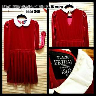 Black Friday/Dangerfield Sz 12 Red Velvet Dress