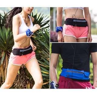 Elastic Expandable Waist Hip Pouch / Belt Bag / Travel Money Wallet Pouch with Earpiece Hole