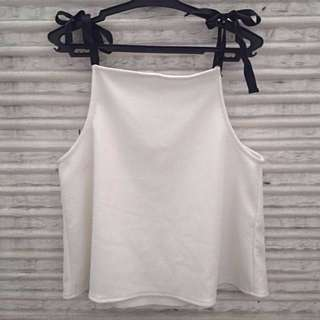 Zara Tie Straps Metallic White Top