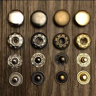 12.5mm Brass Spring Snap Buttons Pack 10/50/100 for leather craft sewing fabric wallet bag and purse Jamjarleather