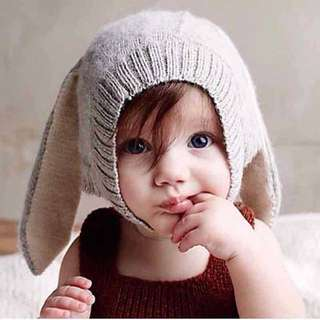 歐美長耳兔毛線帽/三色