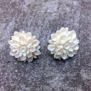 Chanel Style Intricate Flower Earring Studs