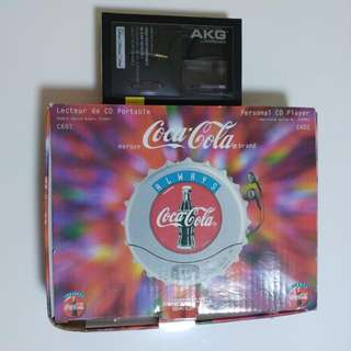 Coca Cola CD Player (Second Hand) + AKG Earphone(New)/ 可口可樂CD機(二手有小許花/ 運作正常) + AKG耳機(全新未開)