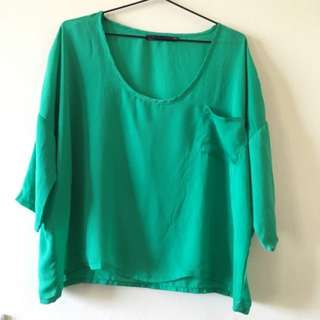 Dotti Green 3/4 Sleeve Top