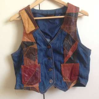 One Of A Kind Amazing Leather Patchwork Vest