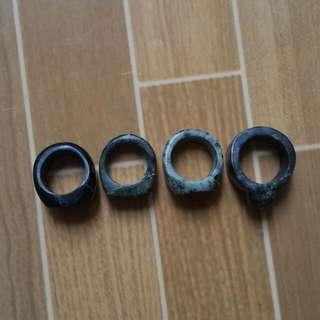 Clearance Sale Black Jade & Badar Besi Loreng Army Ring