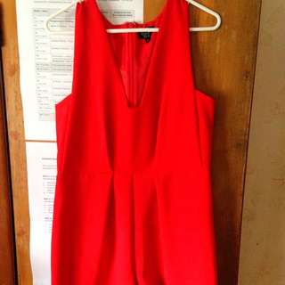 Red Sleeveless Playsuit