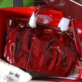 COACH Madison Patent Leather Sophia Satchel COACH漆皮Madison Sophia手袋 100% New
