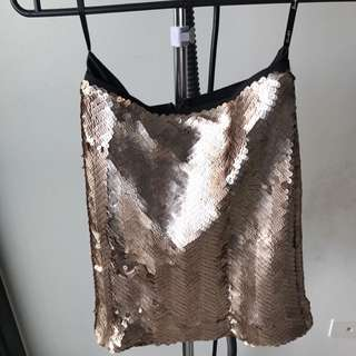 Bardot Gold Sequins Mini Skirt