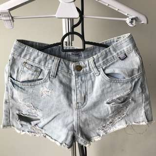 Aura Denim Distressed Shorts