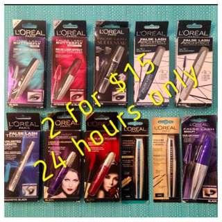 L'Oréal Mascaras 2 For $15! Brand New
