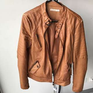 Stradivarius Brown Faux Leather Biker Jacket