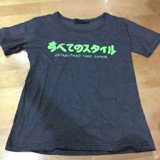 全新👍🏻深灰立體日文短袖