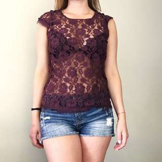 Lace Wine-colored Top