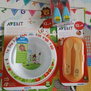 BNIB Avent Bowl, Fork And Spoon