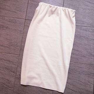 白色直線條絨布裙