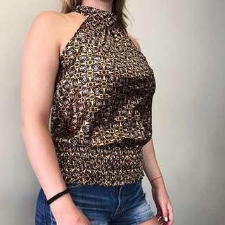 Fashionable Halter Brown Top