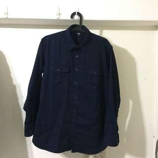 Uniqlo 藍色休閒 襯衫 L號 9.5成新以上