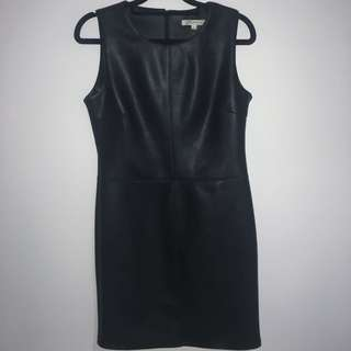 Leather look tight mini dress