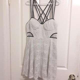 Ally Lace Cutout Dress 14 (White Black)