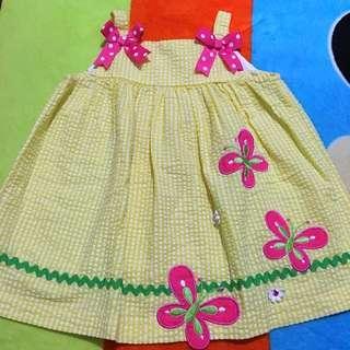 Yellow w Butterfly Design Dress