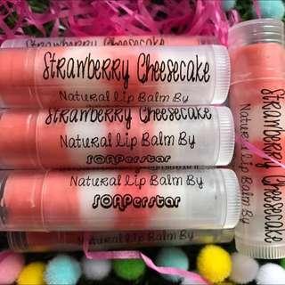 Natural Homemade Lip balms - Strawberry Cheesecake