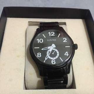 #我有手錶要賣#轉轉來交換:Lovme黑鋼錶帶手錶