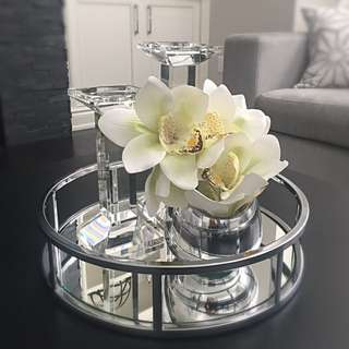 Quality Home Accessories - Tray, Crystal Candleholders, Vase, Orchid