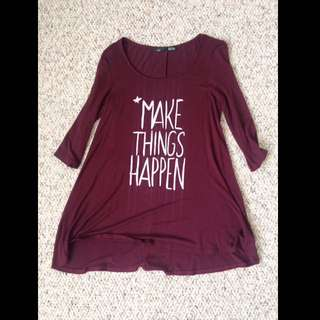 "Maroon ""Make Things Happen"" Cropped Sleeve Long Short"