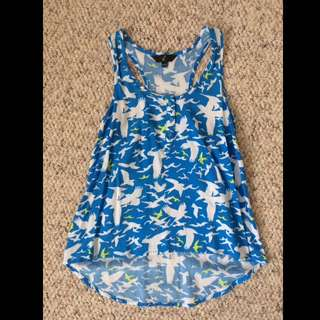 Blue Bird-Patterned High Low Tank Top