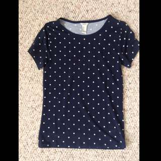 Navy Blue Polka Dotted Shirt