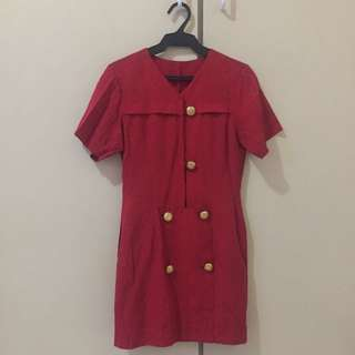 Red Dress With Gold Buttons