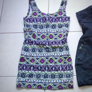 Tight Fitting Cotton H&M Aztec Dress