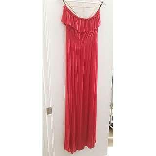 Strapless Ruffled Maxi Dress