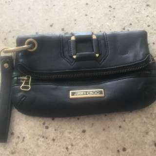 Jimmy Choo Soft Leather Clutch Worn Few Times In Excellent Condition. Zippers All Work Great. Few Scratches On The Hardware But Plenty Of Life Still Left
