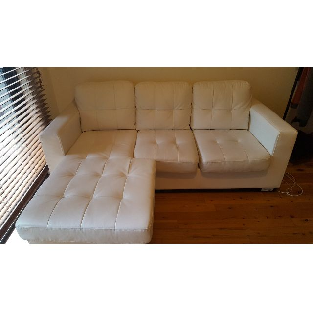3 seater sofa with chaise (white)