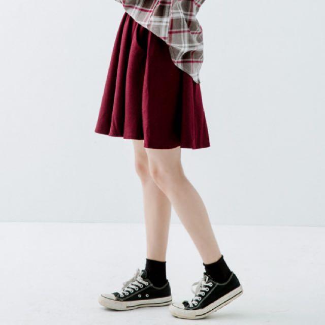 腰鬆緊毛呢圓裙
