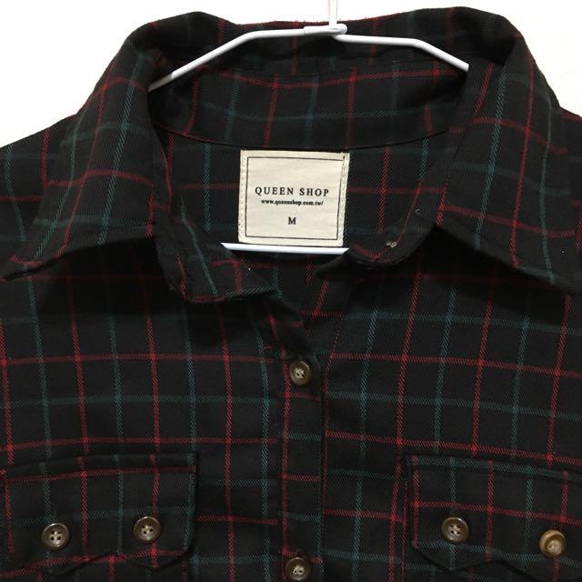 韓版文青綠格配色襯衫