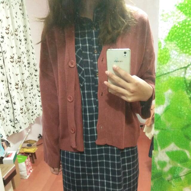 磚紅針織外套