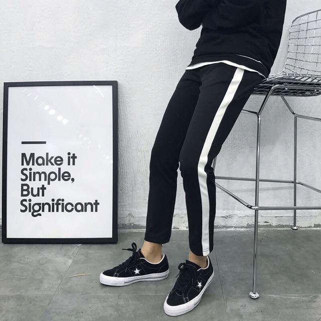 白線運動褲 GD 白邊 Adidas
