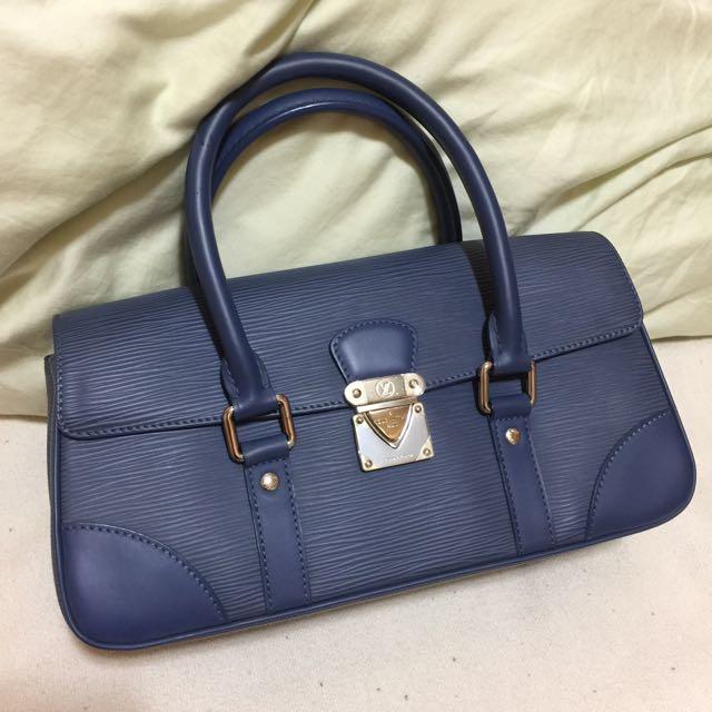 💋今日特價💋正品 LV Epi 藍色水波紋手提包