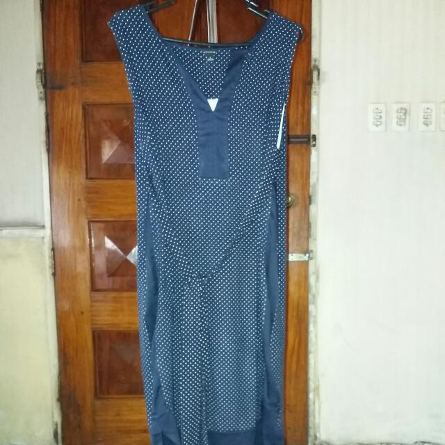Anne Taylor navy blue cotton dress