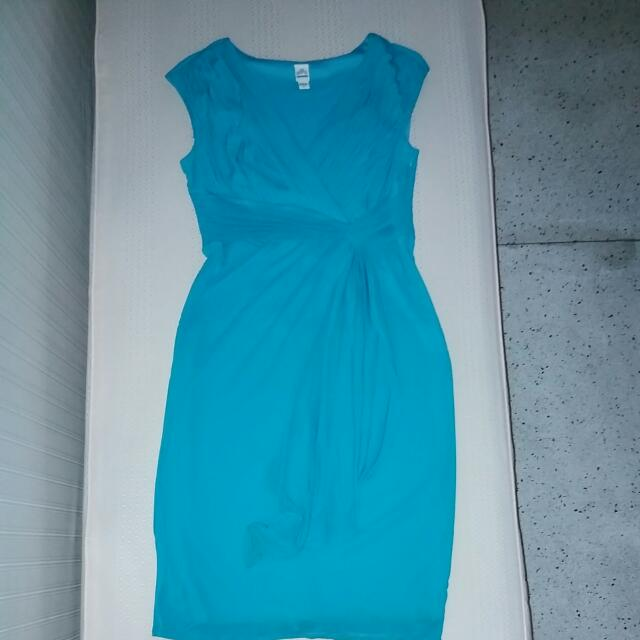 Aqua Overlap Chiffon Dress