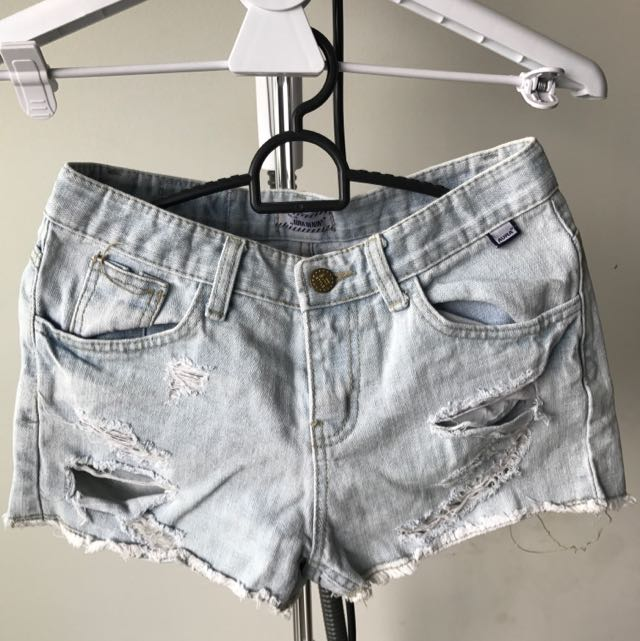 Aura Denim Distressed Shorts