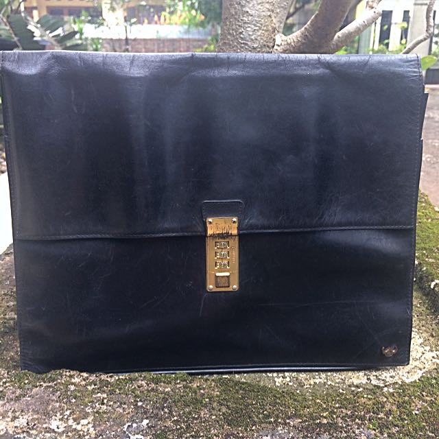 Authentic Leather Hand Bag (Golden Head)
