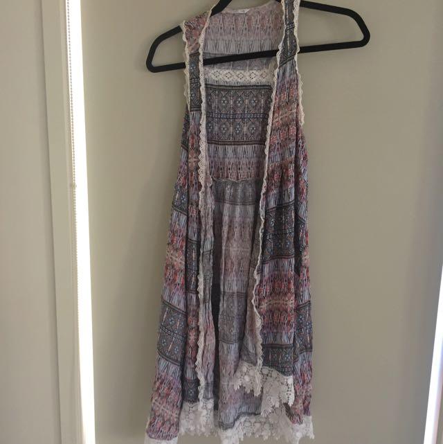 Aztec Print Vest Cardigan